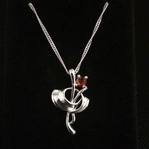 Red Crystal Rose Silver Pendant Necklace